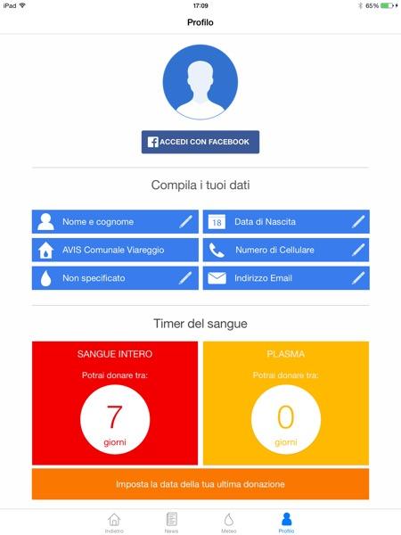 AVIS Regionale Toscana app iOS App Store Meteo del sangue Timer del sangue 4